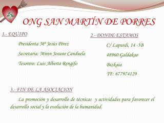 ONG SAN MARTÍN DE PORRES