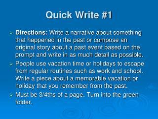 Quick Write #1