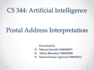 CS 344: Artificial Intelligence
