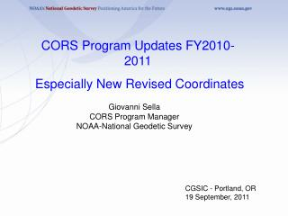Giovanni Sella CORS Program Manager NOAA-National Geodetic Survey