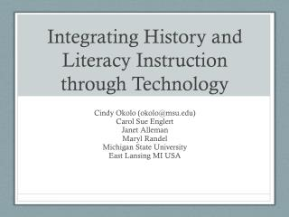 Integrating History and Literacy Instruction through Technology