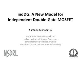 indDG: A New Model for Independent Double-Gate MOSFET
