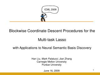 Blockwise Coordinate Descent Procedures for  the  Multi -task  Lasso