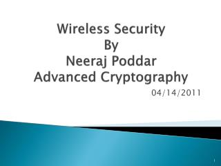 Wireless Security By Neeraj Poddar Advanced Cryptography