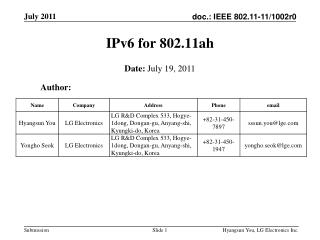 IPv6 for 802.11ah