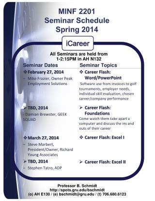 MINF 2201  Seminar Schedule  Spring 2014