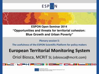 Plenary session 5:  The usefulness of the ESPON Scientific Platform for policy makers