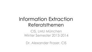 Information Extraction Referatsthemen