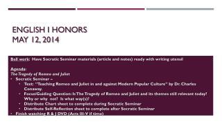 English I Honors May 12, 2014