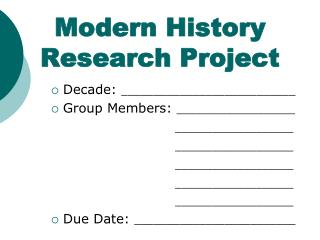 Modern  History Research Project