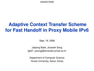 Adaptive Context Transfer Scheme  for Fast Handoff in Proxy Mobile IPv6