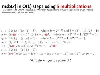 msb ( x ) in O(1) steps  using 5  multiplications