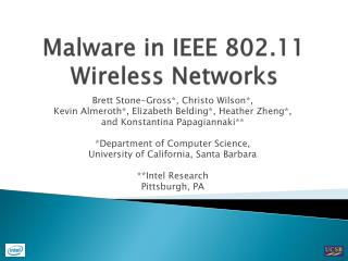 Malware in IEEE 802.11 Wireless Networks
