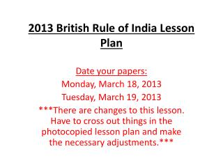 2013 British Rule of India Lesson Plan