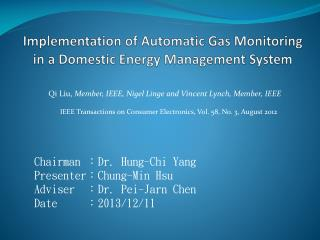 Implementation of Automatic Gas Monitoring in a Domestic Energy Management System