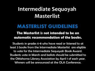 The  Masterlist  is not intended to be an automatic recommendation of the books.