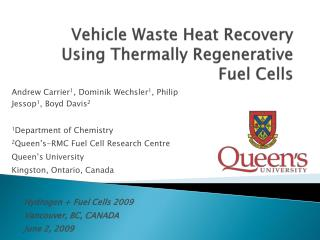 Vehicle Waste Heat Recovery Using Thermally Regenerative Fuel Cells
