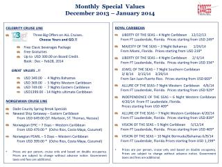 Monthly  Special  Values December 2013 – January 2014