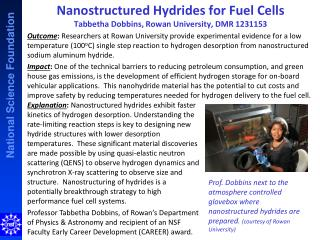 Nanostructured Hydrides for Fuel Cells Tabbetha  Dobbins, Rowan University, DMR 1231153