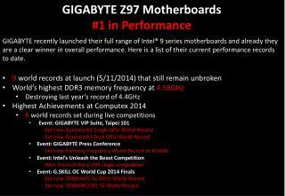 GIGABYTE Z97  Motherboards #1 in Performance