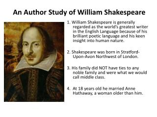 An Author Study of William Shakespeare