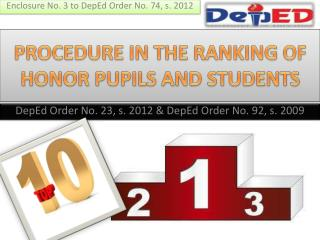 PROCEDURE IN THE RANKING OF HONOR PUPILS AND STUDENTS