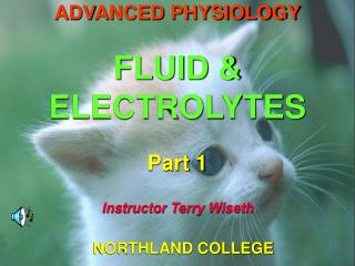 ADVANCED PHYSIOLOGY  FLUID  ELECTROLYTES  Part 1  Instructor Terry Wiseth