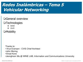 Redes Inalámbricas – Tema 5  Vehicular Networking