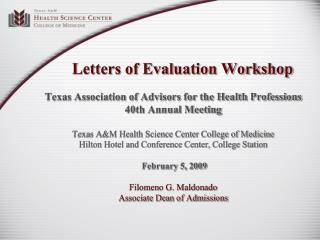 Letters of Evaluation Workshop