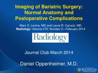 Imaging of Bariatric Surgery: Normal Anatomy and Postoperative Complications