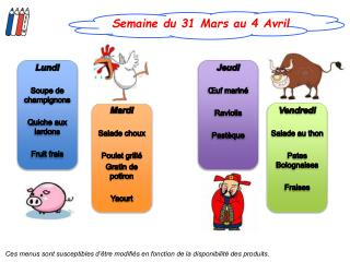 Semaine du 31 Mars au 4 Avril