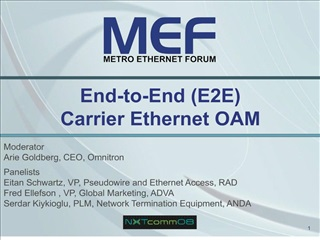 End-to-End E2E  Carrier Ethernet OAM
