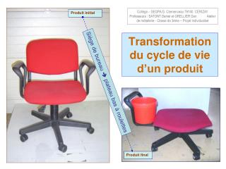 Transformation du cycle de vie d�un produit