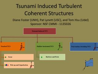 Tsunami Induced Turbulent Coherent Structures
