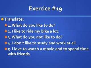 Exercice  # 19