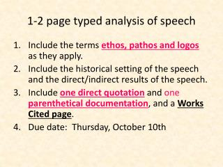 1-2 page typed analysis of speech