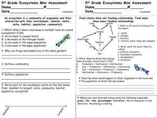 5 th  Grade Ecosystems Mini Assessment Name_______________#______