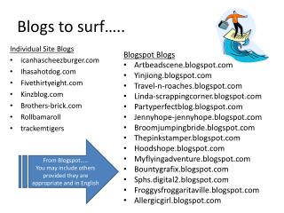Blogs to surf…..