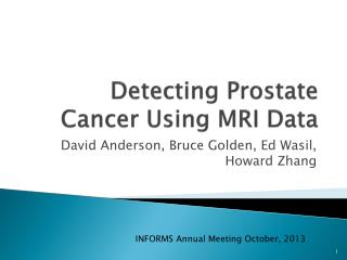Detecting Prostate Cancer Using MRI Data