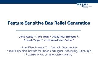 Feature Sensitive Bas Relief Generation