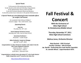 Fall Festival & Concert With the Orchestras of Atlee High School & Chickahominy Middle School