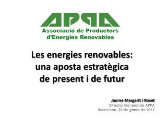 Les energies renovables:  una aposta estratègica  de present i de futur