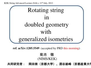 Rotating string  in doubled geometry  with  generalized  isometries