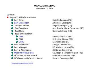 MANCOM MEETING November 12, 2010