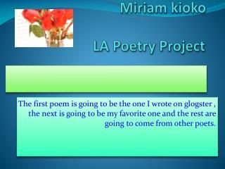 Miriam  kioko  LA  Poetry Project