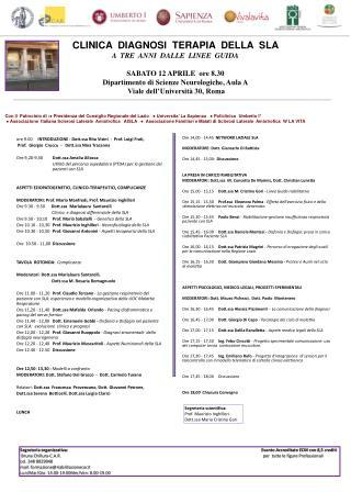 ore 9.00      INTRODUZIONE  :  Dott.ssa Rita Visini  -  Prof. Luigi Frati,