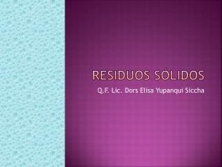 RESIDUOS S�LIDOS
