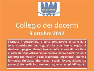 Collegio dei docenti 9 ottobre 2012