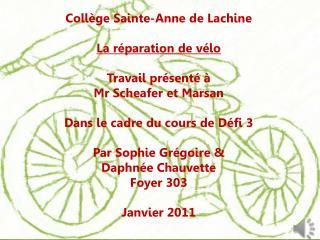 Collège Sainte-Anne de Lachine La réparation de vélo Travail présenté à Mr  Scheafer et Marsan