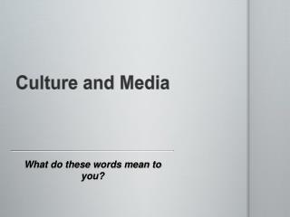 Culture and Media